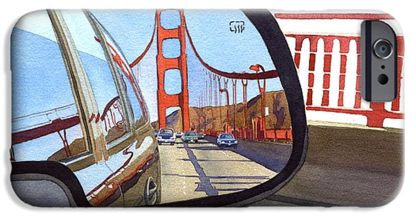 Bay Area iPhone Cases - Golden Gate Bridge in Side View Mirror iPhone Case by Mary Helmreich