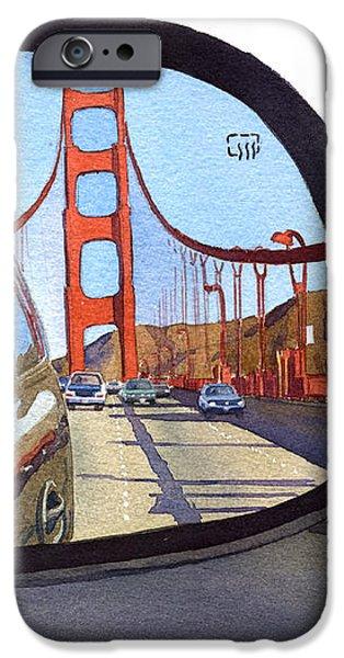 Golden Gate Bridge in Side View Mirror iPhone Case by Mary Helmreich