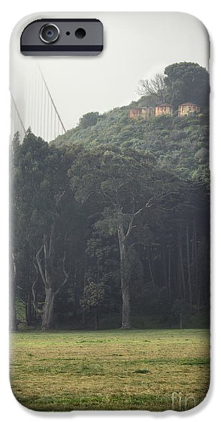 Coast Pyrography iPhone Cases - Golden Gate Bridge in the Fog iPhone Case by Joel Lavold
