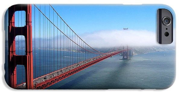 Sausalito Ca iPhone Cases - Golden Gate Bridge - Into the Mist iPhone Case by Pete Edmunds