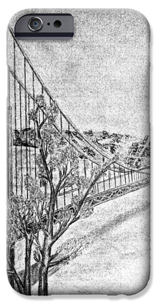 Suspension Drawings iPhone Cases - Golden Gate Bridge iPhone Case by Irving Starr