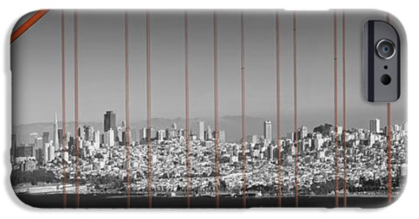 Golden Gate iPhone Cases - Golden Gate Bridge Panoramic Downtown View iPhone Case by Melanie Viola