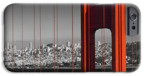 Decorative Digital Art iPhone Cases - Golden Gate Bridge Panoramic Downtown View iPhone Case by Melanie Viola