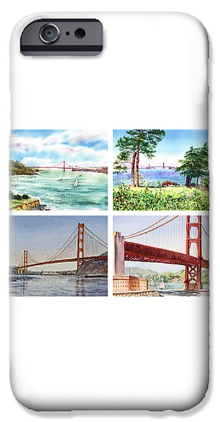 Beautiful Scenery Paintings iPhone Cases - Golden Gate Bridge San Francisco California iPhone Case by Irina Sztukowski