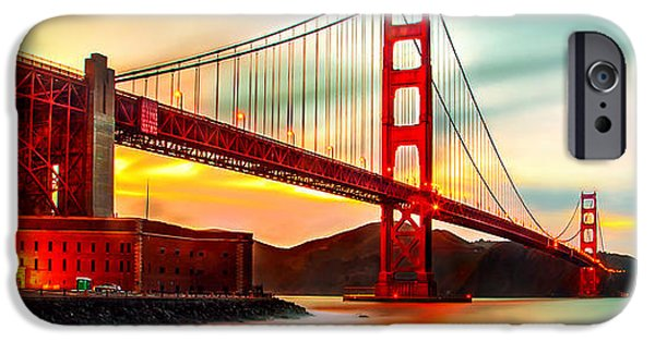 Golden Gate iPhone Cases - Golden Gate Sunset iPhone Case by Az Jackson