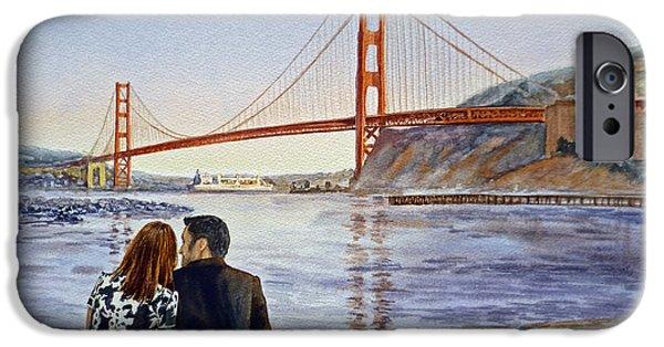 San Francisco Bay Bridge iPhone Cases - Golden Gate Bridge San Francisco - Two Love Birds iPhone Case by Irina Sztukowski