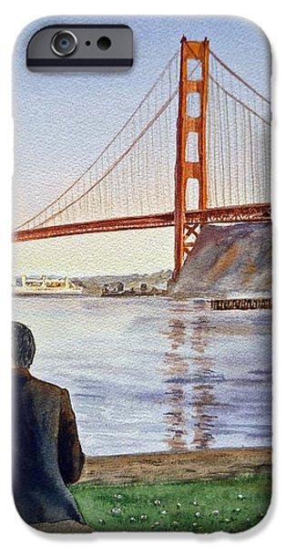 Golden Gate Bridge San Francisco - Two Love Birds iPhone Case by Irina Sztukowski