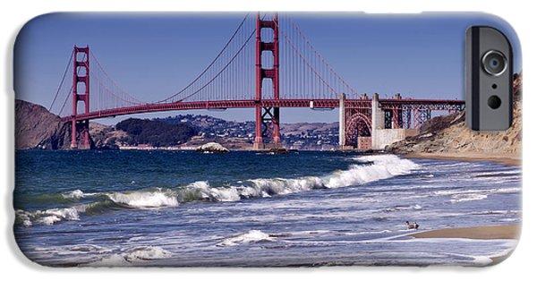 Waves Digital iPhone Cases - Golden Gate Bridge - Seen from Baker Beach iPhone Case by Melanie Viola