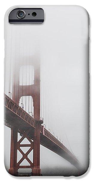 Bay Bridge iPhone Cases - Golden Gate Bridge Shrouded in Fog iPhone Case by Adam Romanowicz
