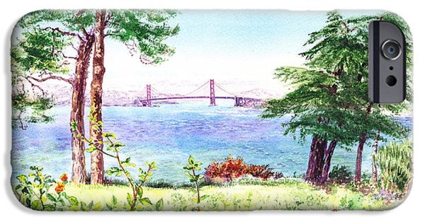 Lincoln iPhone Cases - Golden Gate Bridge View From Lincoln Park San Francisco iPhone Case by Irina Sztukowski