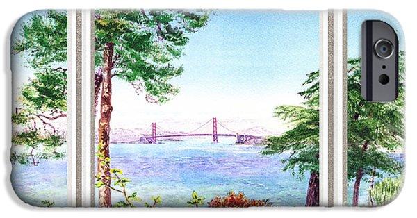 Sailboat Ocean iPhone Cases - Golden Gate Bridge View Window iPhone Case by Irina Sztukowski
