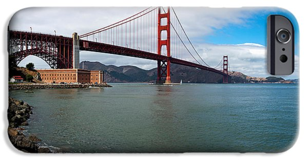 Connection iPhone Cases - Golden Gate Bridge Viewed From Marine iPhone Case by Panoramic Images