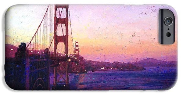 Sausalito Paintings iPhone Cases - Golden Gate iPhone Case by Gina Tecson