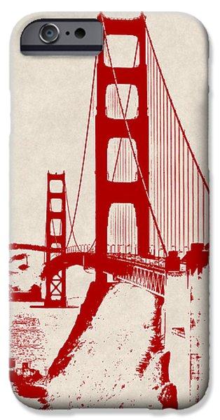 Alcatraz iPhone Cases - GOLDEN GATE in ORANGE iPhone Case by Daniel Hagerman