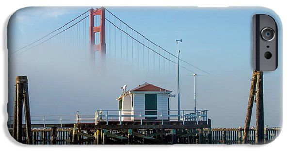 Bay Bridge iPhone Cases - Golden Gate in the Fog iPhone Case by Bill Gallagher