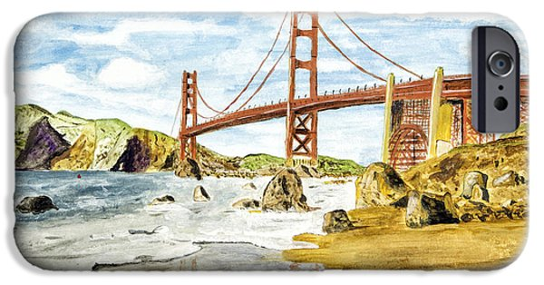 Sausalito Paintings iPhone Cases - Golden Gate Painting iPhone Case by Timothy Hacker
