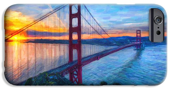 Bay Bridge Mixed Media iPhone Cases - Golden Gate San Francisco iPhone Case by MotionAge Designs