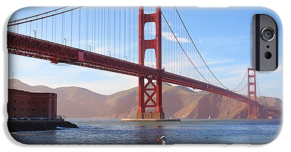Californian iPhone Cases - Golden Gate Seagull iPhone Case by Inge Johnsson