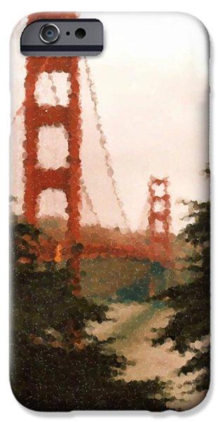 Asbjorn Lonvig Digital iPhone Cases - Golden Gate SF Painting iPhone Case by Asbjorn Lonvig