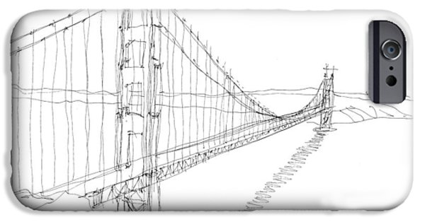 Suspension Drawings iPhone Cases - Golden Gate Sketch iPhone Case by Calvin Durham