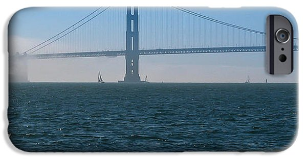 Sausalito iPhone Cases - Golden Gate - The Fog is Lifting iPhone Case by J H Clery