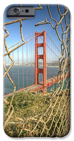 Road Travel iPhone Cases - Golden Gate through the fence iPhone Case by Scott Norris