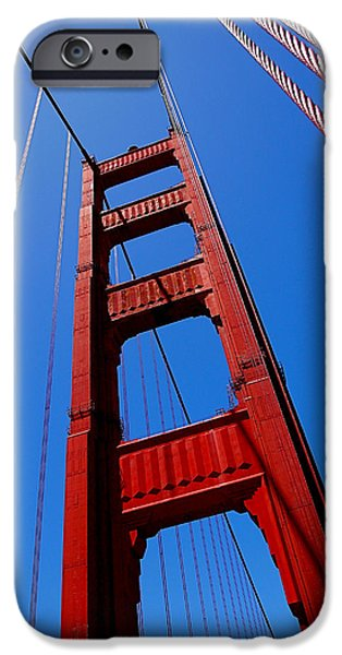 Steel iPhone Cases - Golden Gate Tower iPhone Case by Rona Black