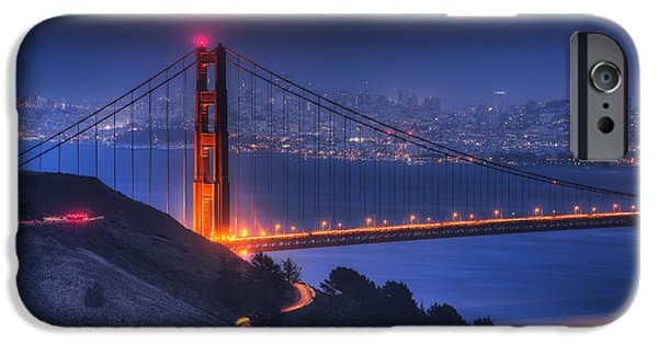 Bay Bridge iPhone Cases - Golden Gate Twilight iPhone Case by Shawn Everhart