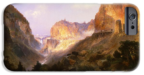 Park Scene Paintings iPhone Cases - Golden Gate Yellowstone National Park iPhone Case by Thomas Moran