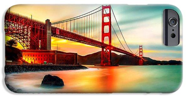 San Francisco Bay Bridge iPhone Cases - Golden Gateway iPhone Case by Az Jackson