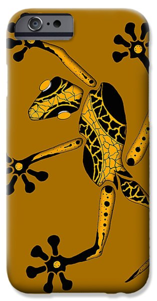 Metallic Print Drawings iPhone Cases - Golden Gecko iPhone Case by Doug Chambers