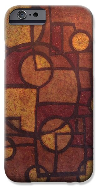 Abstracted Tapestries - Textiles iPhone Cases - Golden Geometry iPhone Case by Kevin Houchin