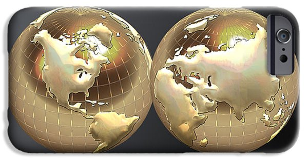Ultra Modern iPhone Cases - Golden Globes - Eastern and Western Hemispheres on Black iPhone Case by Serge Averbukh