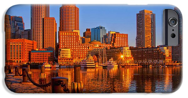 Boston Cityscape iPhone Cases - Golden Glow over Boston Harbor iPhone Case by Joann Vitali