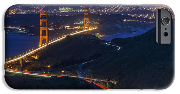 San Francisco Bay Bridge iPhone Cases - Golden Glow iPhone Case by Rick Berk
