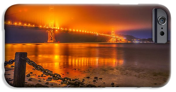 Sausalito Digital Art iPhone Cases - Golden Golden Gate Bridge  iPhone Case by Michael Filippoff