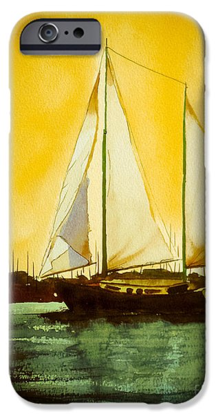 Sailboat Ocean Mixed Media iPhone Cases - Golden Harbor  iPhone Case by Kip DeVore