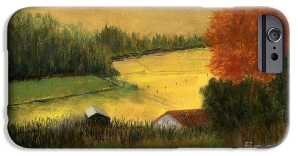 Field. Cloud Pastels iPhone Cases - Golden Haze iPhone Case by Ginny Neece