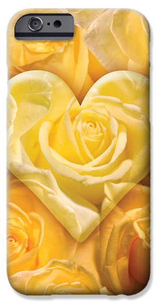 Abstract Digital iPhone Cases - Golden Heart Of Roses iPhone Case by Alixandra Mullins