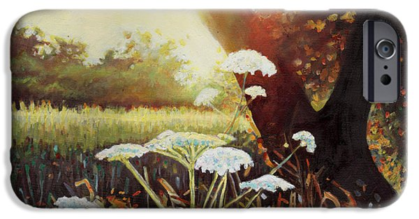 Sunshine Paintings iPhone Cases - Golden Hedgerow iPhone Case by Helen White