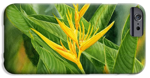 Yellow Bird Of Paradise iPhone Cases - Yellow Heliconia Paradise with Leaves iPhone Case by Sharon Freeman