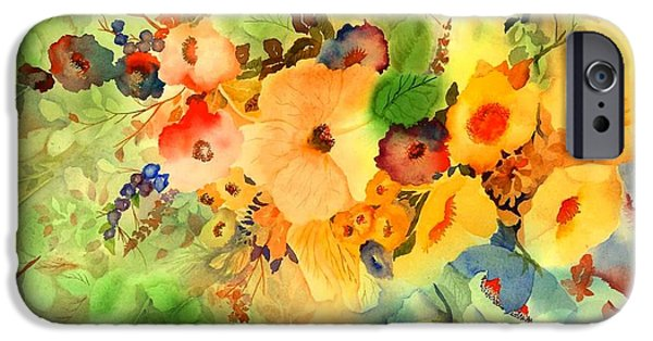 Floral Still Life Paintings iPhone Cases - Golden Hibiscus iPhone Case by Neela Pushparaj