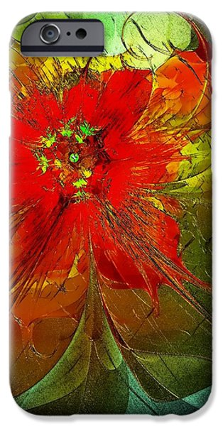 Floral Digital Art Digital Art Digital Art iPhone Cases - Golden Highlights iPhone Case by Amanda Moore