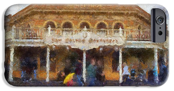 Beauty Mark iPhone Cases - Golden Horseshoe Frontierland Disneyland Photo Art 02 iPhone Case by Thomas Woolworth