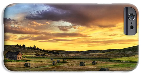 Hay Bales iPhone Cases - Golden Hour Farm iPhone Case by Mark Kiver