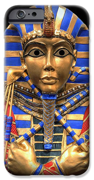 Horus Digital Art iPhone Cases - GOLDEN INNER SARCOPHAGUS of a PHARAOH iPhone Case by Daniel Hagerman