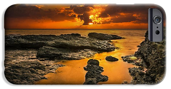 Banzai iPhone Cases - Golden Kailua beach sunrise in Oahu iPhone Case by Tin Lung Chao