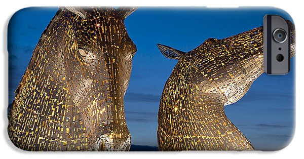 Horse iPhone Cases - Golden Kelpies iPhone Case by David Peat