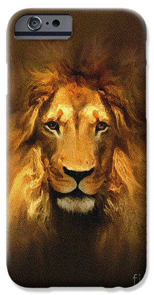 Green Witch iPhone Cases - Golden King Lion iPhone Case by Robert Foster