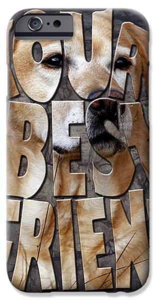 Labrador Retriever Digital Art iPhone Cases - Golden Labrador Retriever Typography art iPhone Case by Georgeta Blanaru